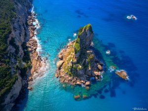 Clear blue waters of Corfu beach